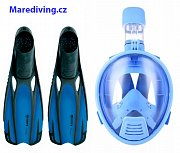 FULL Schnorchel MASK + PLOUTVR Fluid - Baby Set Blau XS 34,35