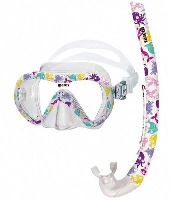 Maske + Schnorchel + Flossen MARES VENTO ENERGY + X-ONE JR. - Junior Set - Kids Pink Pink XS 24-29