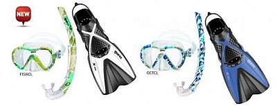Maske + Schnorchel + Flossen MARES VENTO ENERGY + X-ONE JR. - Junior Set - Kinder-Rosa-Grün-XS 24-29