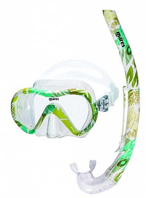 Maske + Schnorchel + Flossen MARES VENTO ENERGY + X-ONE JR. - Junior Set - Kinder-Rosa mit rosa 30-34